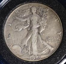 1938-D WALKING LIBERTY HALF DOLLAR,  VF+ KEY