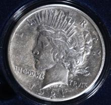 1921 PEACE SILVER DOLLAR, AU  KEY COIN