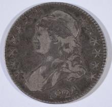 1824 BUST HALF DOLLAR, FINE/VF