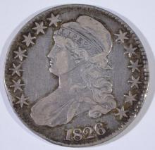 1826 BUST HALF DOLLAR, VF