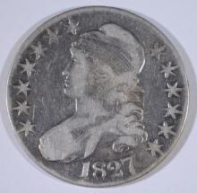 1827 BUST HALF DOLLAR, FINE/VF