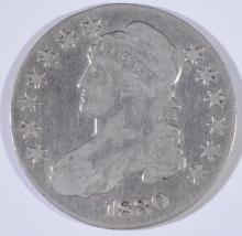 1830 BUST HALF DOLLAR, FINE/VF