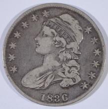 1836 BUST HALF DOLLAR, FINE/VF