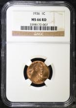 1936 LINCOLN CENT, NGC MS-66 RED