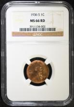 1936-S LINCOLN CENT, NGC MS-66 RED