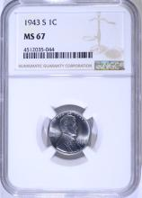 1943-S STEEL LINCOLN CENT NGC MS67