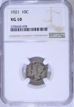 1921 MERCURY DIME, NGC VG-10  KEY DATE