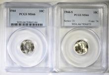 1944 & 1944-S MERCURY DIMES, PCGS MS-66