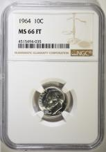 1964 ROOSEVELT DIME, NGC MS-66 FULL TORCH