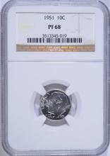 1951 ROOSEVELT DIME, NGC PF-68
