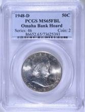 1948-D FRANKLIN HALF DOLLAR, PCGS MS-65 FBL  OMAHA BANK HOARD
