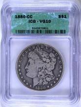1880-CC MORGAN SILVER DOLLAR,  ICG VG-10  KEY COIN