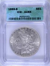 1889-S MORGAN SILVER DOLLAR, ICG AU-55