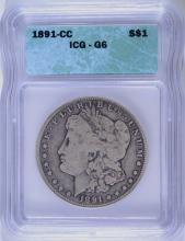 1891-CC MORGAN SILVER DOLLAR, ICG GOOD-6  KEY!