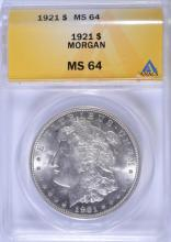 1921 MORGAN SILVER DOLLAR, ANACS MS-64