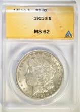 1921-S MORGAN SILVER DOLLAR, ANACS MS-62