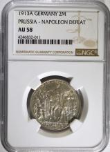 1913 A GERMANY SILVER 2MARKS PRUSSIA - NAPOLEON DEFEAT NGC AU 58