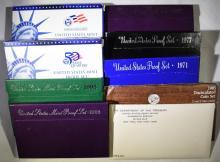 U.S.PROOF & MINT LOT; 1971, 1977, 1987, 1993, 1995, 2000, 2005 PROOF SETS &