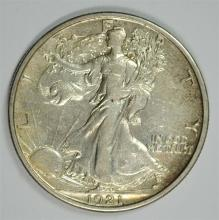 1921-S WALKING LIBERTY HALF DOLLAR AU   KEY DATE!