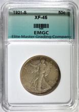 1921-S WALKING LIBERTY HALF DOLLAR, EMGC XF/AU  RARE!!