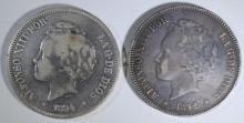 1894 SPAIN 5 PESETAS SILVER COIN XF & 1892 SPAIN 5 PESETAS VF SILVER COIN
