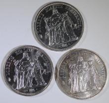 3 - SILVER FRANCE 10 FRANCS COINS - 1965 UNC, 1966 UNC PL, 1967 UNC - .7254 asw