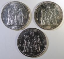 3 - SILVER FRANCE 10 FRANCS COINS; 1967 UNC, 1969 UNC PL, 1970 UNC