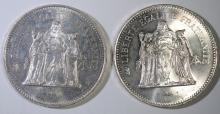 2 - 1976 & 1978 FRANCE 50 FRANCS SILVER COINS - BEAUTIFUL UNC .8888 ASW