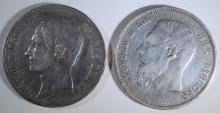 2 - BELGIUM 5 FRANCS SILVER COINS; 1851 VF & 1868 VF+ .9000 SILVER