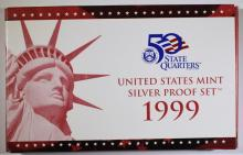 1999 U.S. SILVER PROOF SET IN ORIGINAL; MINT PACKAGING