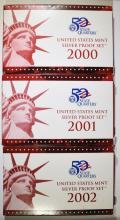 2000. 2001 & 2002 U.S. SILVER PROOF SETS IN ORIGINAL PACKAGING