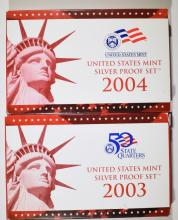 2003 & 2004 U.S. SILVER PROOF SETS IN ORIGINAL PACKAGING