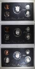 ( 3 ) 1992 U.S. SILVER PROOF SETS IN ORIG PLASTIC CASES, NO BOXES