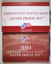 2009 & 2010 U.S. SILVER PROOF SETS IN ORIGINAL PACKAGING
