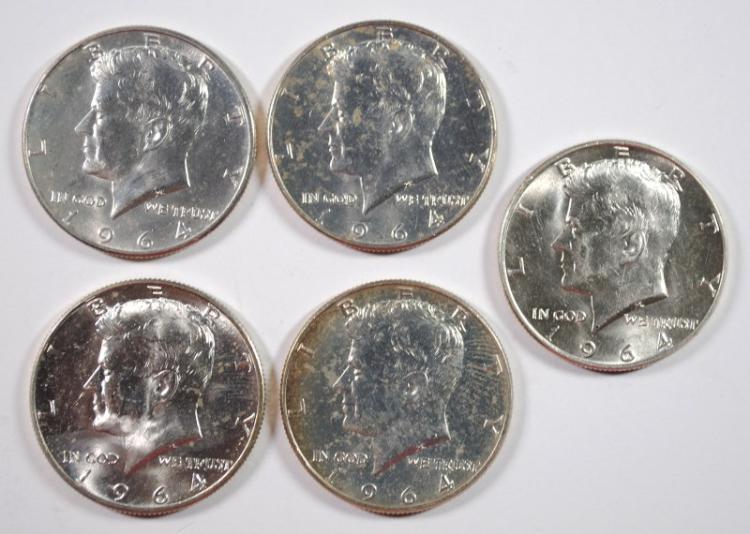 1964 Kennedy Half Dollar BU Lot of 5