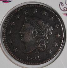 1831 LARGE CENT, VF+  NICE!
