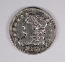 1834 HALF-DIME, AU, a few minor rim nicks