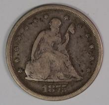1875-S TWENTY CENT PIECE, VG/FINE
