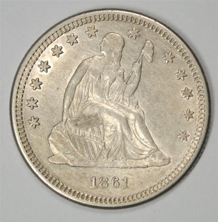 1861 SEATED LIBERTY QUARTER, CHOICE BU  NICE