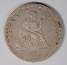 1855 SEATED LIBERTY QUARTER WITH ARROWS  AU+ NICE