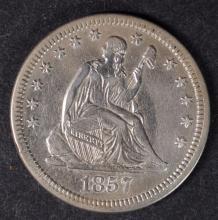 1857 SEATED QUARTER CH AU NICE ORIGINAL