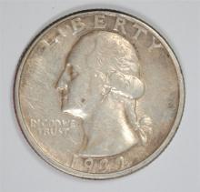 1932-D WASHINGTON QUARTER, XF  KEY DATE