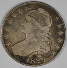 1829/7 CAPPED BUST HALF DOLLAR, VF/XF