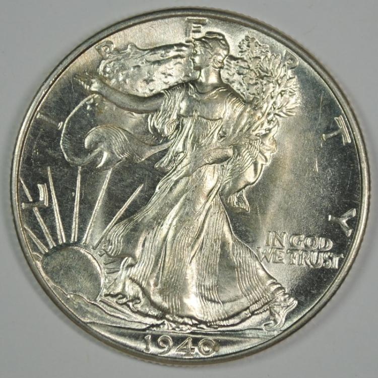 1940 WALKING LIBERTY HALF DOLLAR, GEM BU