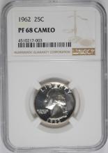 1962 WASHINGTON QUARTER, NGC PF-68 CAMEO