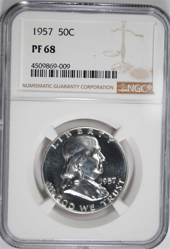 1957 FRANKLIN HALF DOLLAR, NGC PF-68