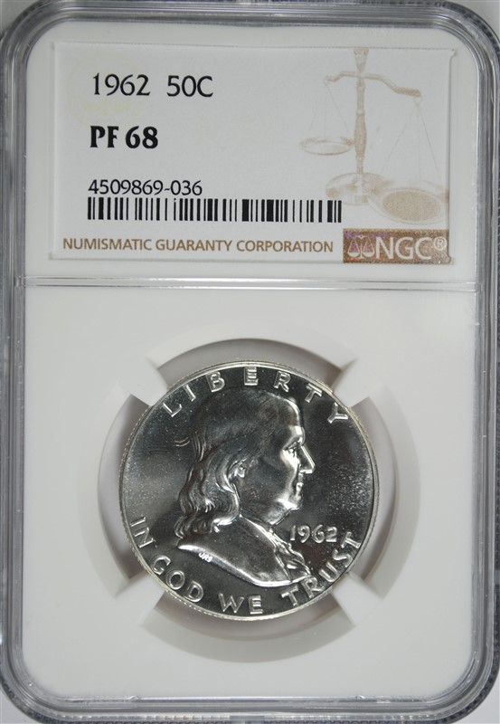 1962 FRANKLIN HALF DOLLAR, NGC PF-68
