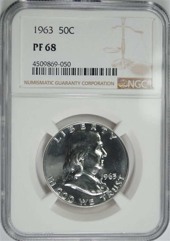 1963 FRANKLIN HALF DOLLAR, NGC PF-68