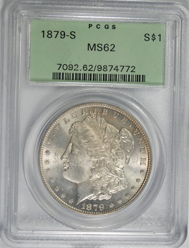 1879-S MORGAN SILVER DOLLAR, PCGS MS-62 OLD GREEN HOLDER