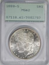 1880-S MORGAN SILVER DOLLAR, PCGS MS-62